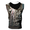 Light Yagami With Ryuk Rem & Other Shinigami Hooded Tank - Death Note 3D Printed Sleeveless Hoodie