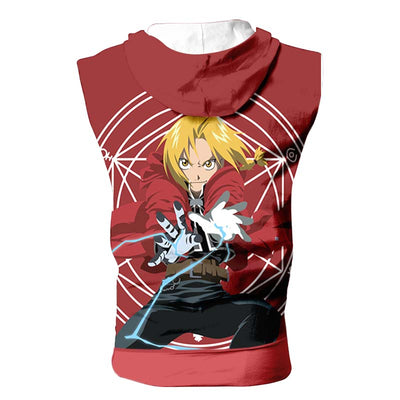 Edward Falling Casting A Spell Hooded Tank Top - 3D Printed Full Metal Alchemist Sleeveless Hoodie