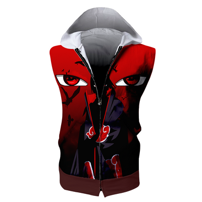 Itachi Uchiha Hooded Tank Top - 3D Printed Naruto Sleeveless Hoodie