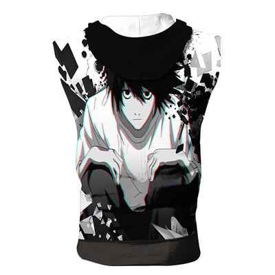 L Sitting & Staring In White Black Hooded Tank - Death Note 3D Printed Sleeveless Hoodie