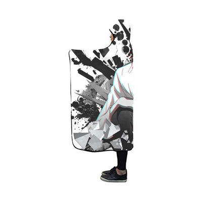 L Sitting & Staring In White Black Hooded Blanket - Death 3D Printed Hooded Blanket