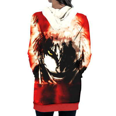 Ichigo Bankai Possessed Hollow Hooded Dress - Bleach 3D Printed Hoodie Dress