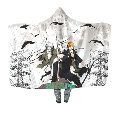 Ichigo & Hollow Ichigo Hooded Blanket - Bleach 3D Printed Hooded Blanket