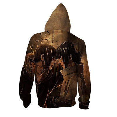 Itachi And Sasuke Brothers Full Print Brown Zip Hoodie