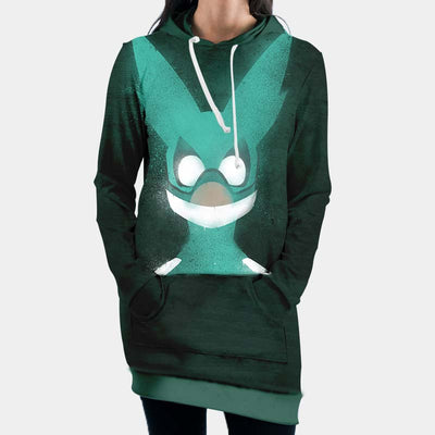 Izuku Midoriya Green Costume Hooded Dress - My Hero Academia 3D Printed Hoodie Dress