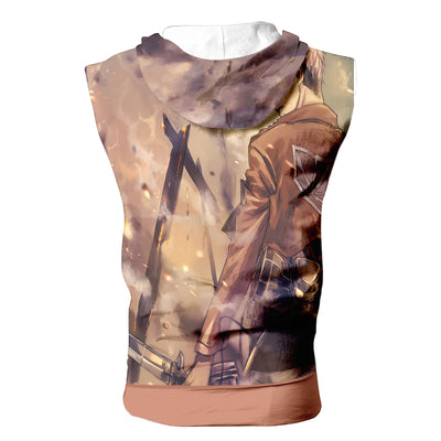Jean Kirschtein Brown Hooded Tank - Attack On Titan 3D Sleeveless Hoodie