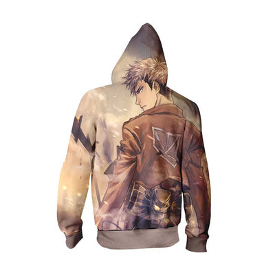 Jean Kirschtein Brown Zip Up Hoodie - Attack on Titan Zip Up Hoodie