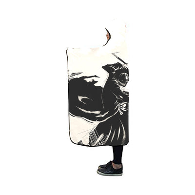 Kenpachi Zaraki Black Hooded Blanket - Bleach 3D Printed Hooded Blanket