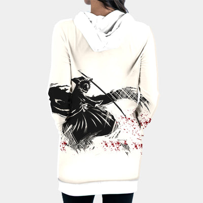 Kenpachi Zaraki Black Hooded Dress - Bleach 3D Printed Hoodie Dress