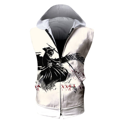 Kenpachi Zaraki Black Tank Top - Bleach 3D Printed Sleeveless Hoodie