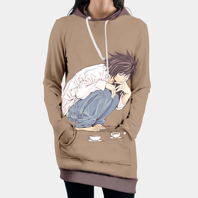 L Sitting Hooded Dress - Death Note 3D Printed Hoodie Dress