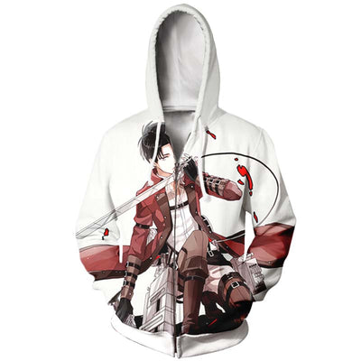 Levi Doing an Epic Pose Zip Up Hoodie - Attack on Titan Zip Up Hoodie