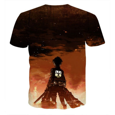 Lonely Eren Watching Sunset - Attack On Titan 3D T-Shirt