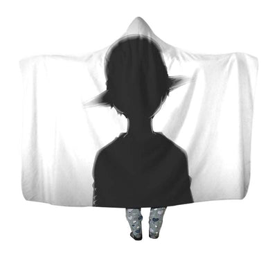 Luffy Black & White Hooded Blanket - One Piece 3D Printed Hooded Blanket