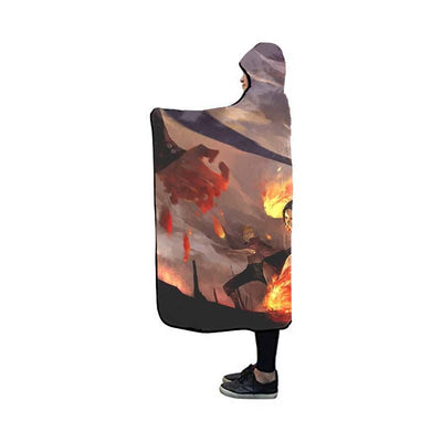 Luffy Fighting Hooded Blanket - One Piece 3D Printed Hooded Blanket