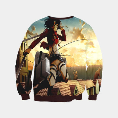 Mikasa Ackerman Sky Fighting Sweatshirt - Attack on Titan 3D Printed Sweatshirt