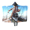 Mikasa Ackerman with Mobility Gear - Attack On Titan 3D Printed Hooded Blanket