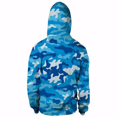 Monkey D.Luffy Camo Camouflage Dab Dance Blue 3D Hoodie - One Piece