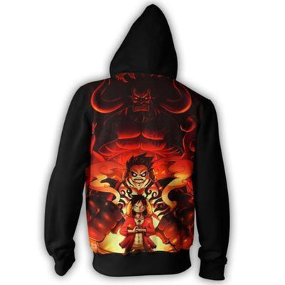 One Piece Monkey D Luffy Gear fourth 3D Zip Hoodie