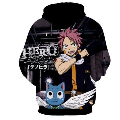 Natsu Black Talking Cat 3d Printed Fairy Tail Magic Hoodie
