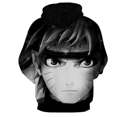 Naruto Portrait Black White Dope Anime Theme Cool Hoodie