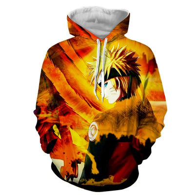 Naruto Uzumaki Kyuubi Fox Pattern Dope Art Winter Hoodie