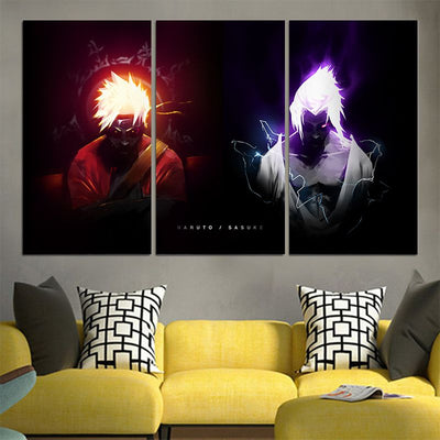 Naruto and Sasuke Badass Canvas - 3D Printed Naruto Canvas