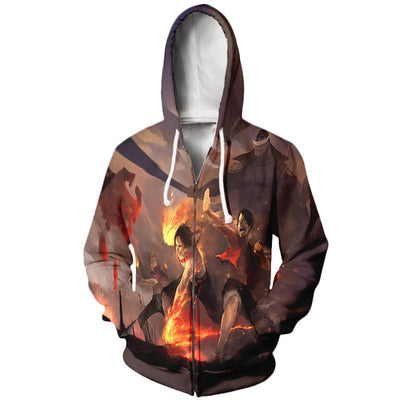 Luffy Fighting Hoodie - One Piece Zip Up Hoodie