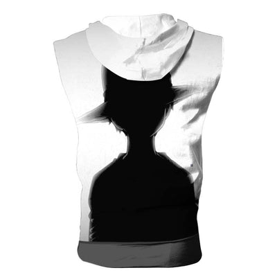 Luffy Black & White Hooded Tank Top - One Piece 3D Printed Sleeveless Hoodie