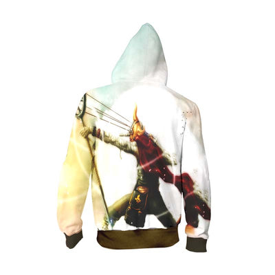 One Piece Hoodie - usopp sogeking outfit attacking with his sling shot - Zip Up Hoodie & T-Shirt
