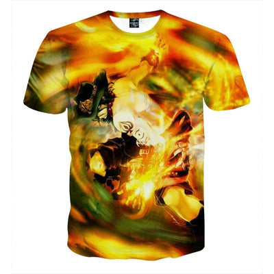 One Piece Ace Awesome Fire Skill 3D Printed T-shirt