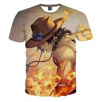One Piece Ace Burning Flame 3D Print Vibrant T-shirt