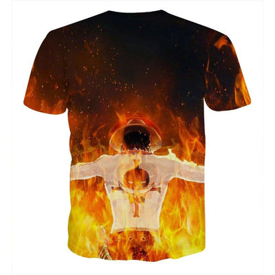 One Piece Ace Flame Back Standing 3D Full Print T-shirt
