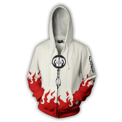 One Piece Hoodies - One Piece Ace White Zip Hoodie
