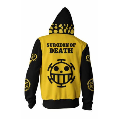 One Piece Hoodies - Trafalgar Law Black Zip Hoodie