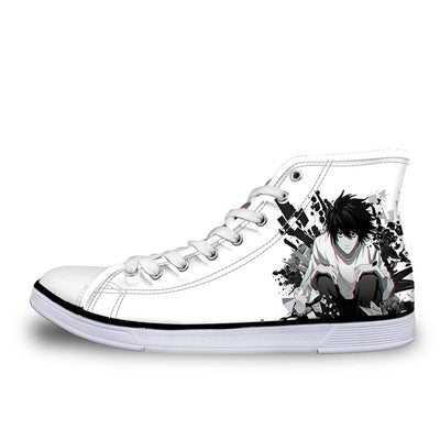 L Sitting & Staring In White Black Shoes - Death Note 3D Printed Shoes