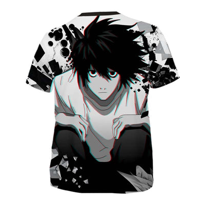 L Sitting & Staring In White Black T-Shirt - Death Note 3D Printed T-Shirt