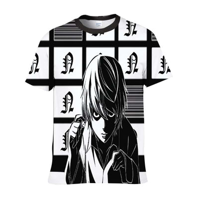 Near Holding A Dice Infront Of Screens T-Shirt - Death Note 3D Printed T-Shirt