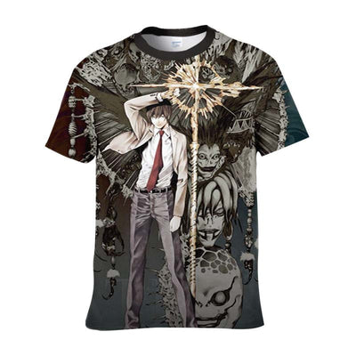 Light Yagami With Ryuk Rem & Other Shinigami T-Shirt - Death Note 3D Printed T-Shirt