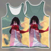 Young Mikasa Ackerman Staring Tank Top - 3D Printed Attack On Titan Tank Top