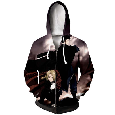 Edward & Roy Mustang Zip Up Hoodie - Full Metal Alchemist Zip Up Hoodie