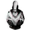 L Sitting & Staring In White Black Hoodie - Death Note Zip Up Hoodie