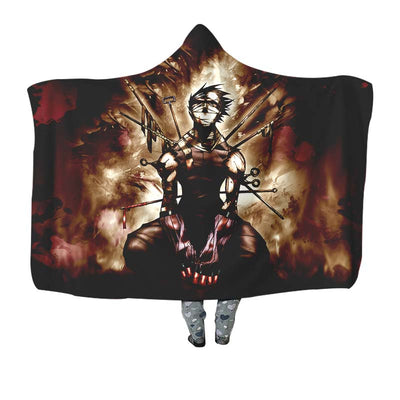 Naruto Zabuza Sitting on His Knees - 3D Printed Naruto Hooded Blanket