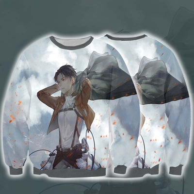 Attack On Titan Sweatshirt - Levi in Scout Regiment Uniform 3D Printed Sweatshirt