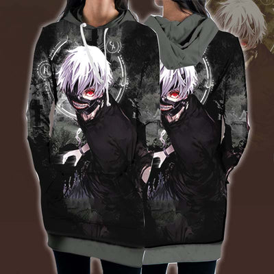 Tokyo Ghol Hooded Dress - Kaneki Ken 3D Printed Hoodie Dress