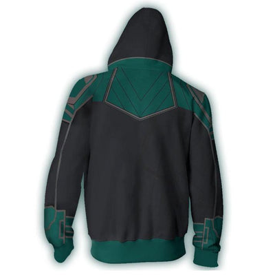 Captain Marvel ZipUp Hoodie - Captain Marvel Cosplay Green 3D Printed ZipUp Hoodie