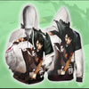 Attack On Titan Hoodie Levi in battle with tattered broken gear - ZipUp Hoodie