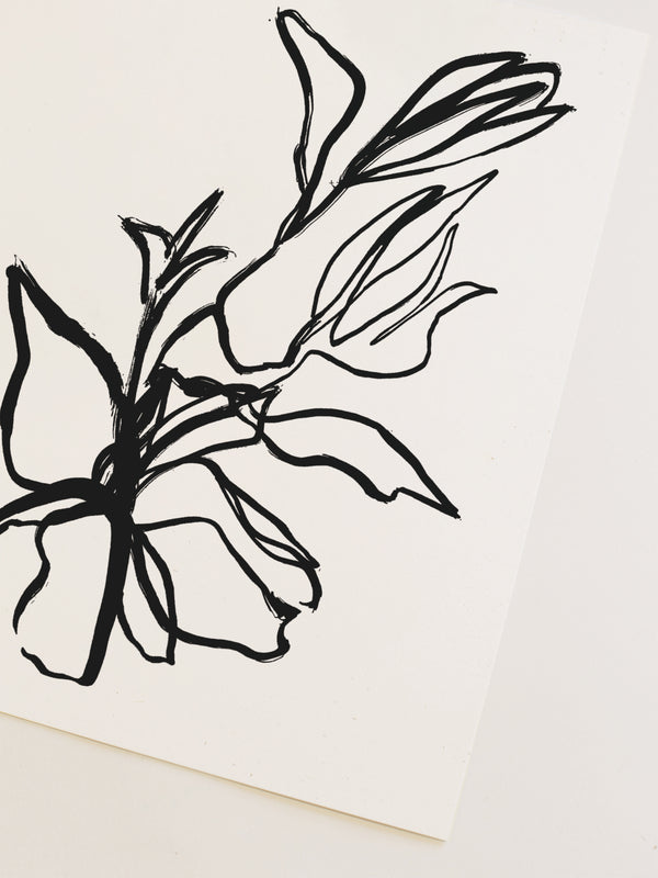 Flora Art Print in Noir
