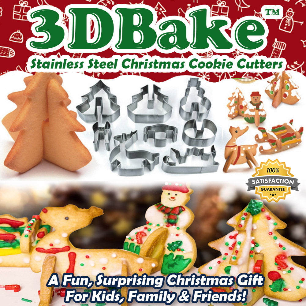 3DBake™ Stainless Steel Christmas Cookie Cutters