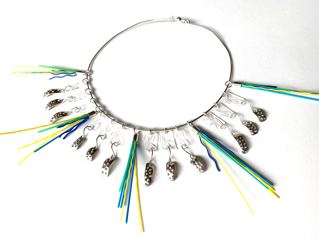 Clarity in white & colour neckpiece